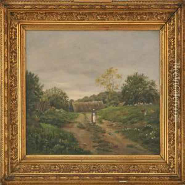 Landscape With A Watercarrying Woman And Some Chickens Oil Painting - Oscar Herschend