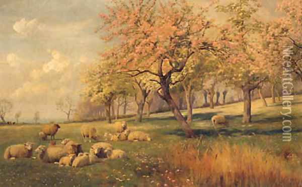 Springtime In The Orchard Oil Painting - William Sidney Cooper