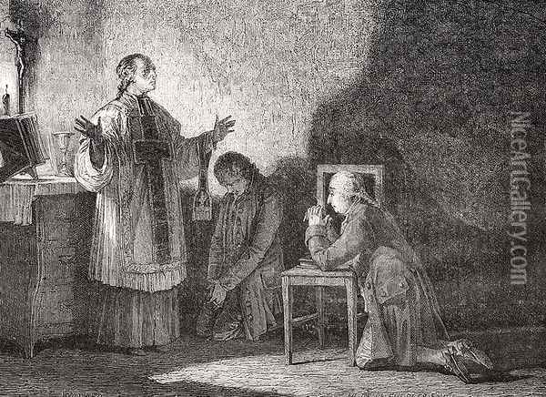 Louis XVI (1754-93) at Prayer Before his Execution Oil Painting - H. de la Charlerie