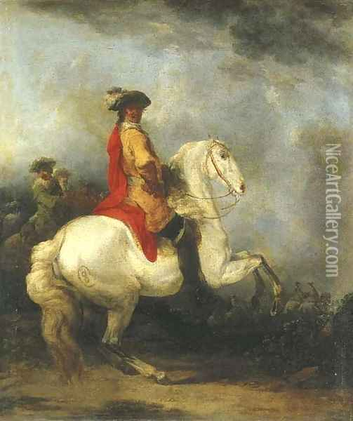 A cavalier in a yellow coat with a red cloak and plumed hat on a grey, a cavalry troop beyond Oil Painting - Francesco Giuseppe Casanova