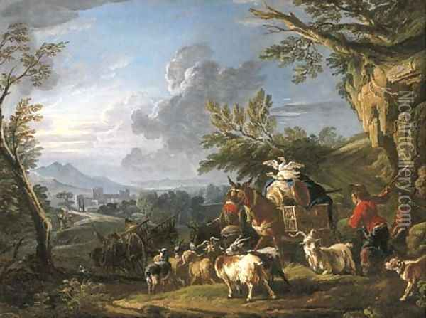 A landscape with travelers and a drover with his herd of goats on a path, a town beyond Oil Painting - Francesco Giuseppe Casanova