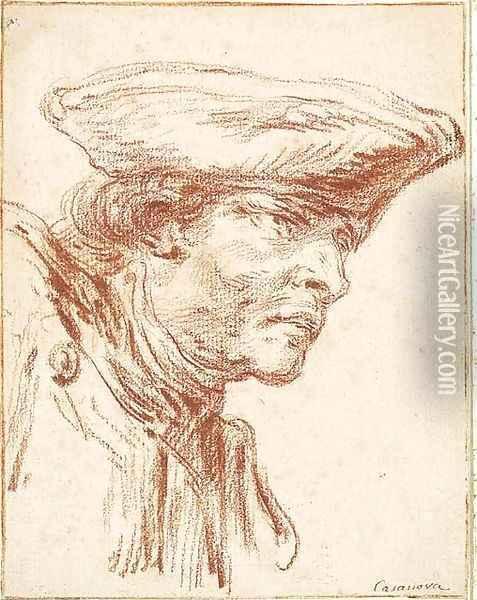 The Head of a Soldier looking to the right Oil Painting - Francesco Giuseppe Casanova