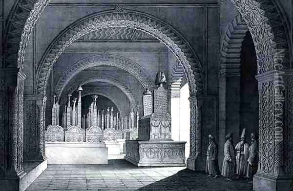 View of the Tomb of the Family of Mohammed Ali Pacha, in the Cemetery of the Imam, from Monuments and Buildings of Cairo Oil Painting - Pascal Xavier Coste