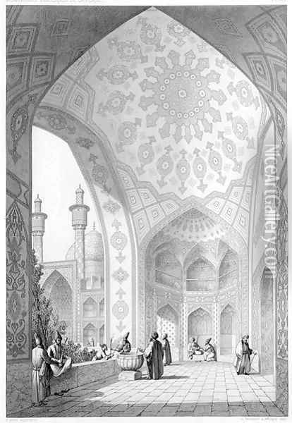 The Vestibule of the Main Entrance of the Medrese-i-Shah-Hussein, Isfahan, plate 21 from Modern Monuments of Persia Oil Painting - Pascal Xavier Coste