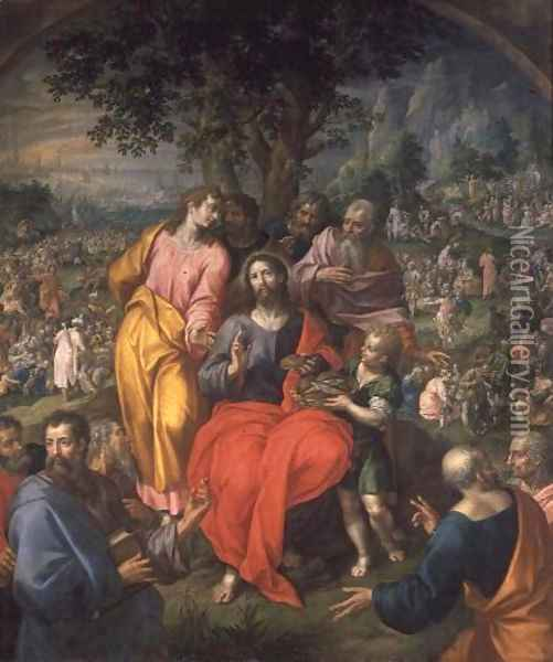 The Feeding of the Five Thousand, c.1590 Oil Painting - Hendrick De Clerck