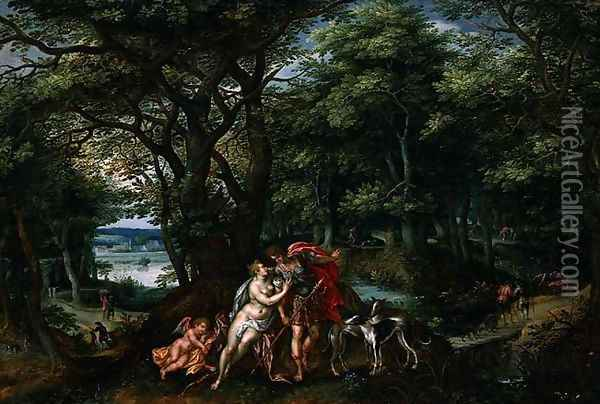 Venus and Adonis in a Wooded Landscape, 1607 Oil Painting - Hendrick De Clerck