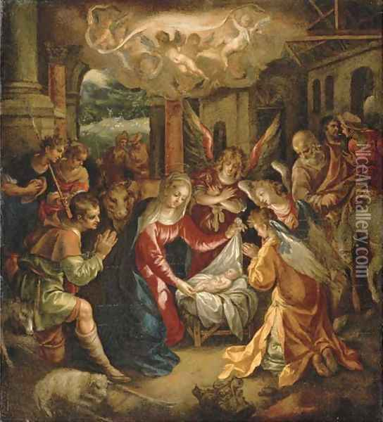 The Adoration of the Shepherds with the Annunciation to the Shepherds beyond Oil Painting - Hendrick De Clerck