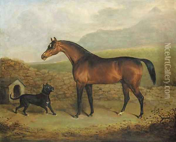 The Sligo Waxy, a bay racehorse, with a Manchester terrier, in a field Oil Painting - Henry Bernard Chalon