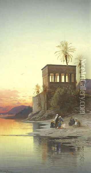 The Kiosk of Trajan, Philae on the Nile Oil Painting - Hermann David Salomon Corrodi