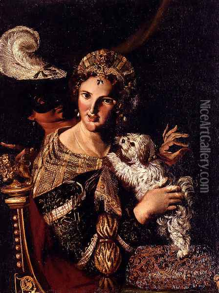 A Lady With Her Dog, An Allegory Oil Painting - Angelo Caroselli