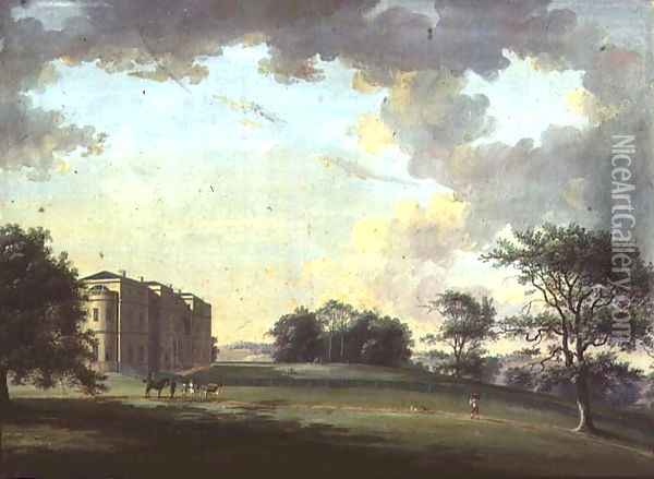 Highcliffe, near Christchurch: the Entrance Front with Horse and Carriage Oil Painting - Adam Callander