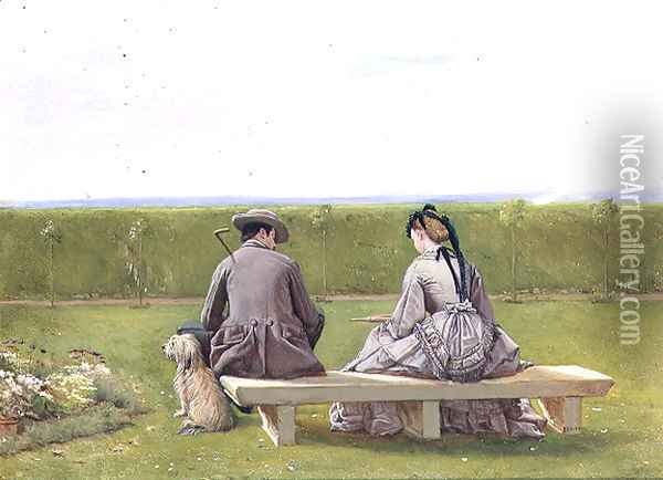 The Bench by the Sea Oil Painting - Eyre Crowe