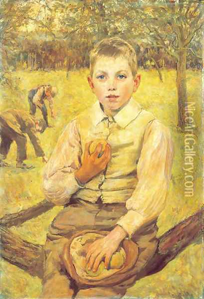 In the Orchard Oil Painting - James Charles