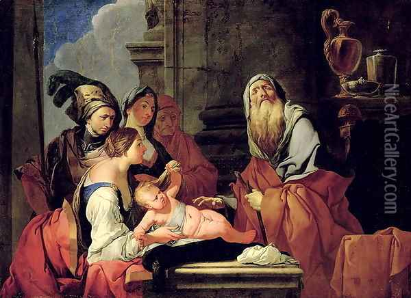 The Blind Prophet Tiresias with the Baby Narcissus, after 1666 Oil Painting - Giulio Carpioni
