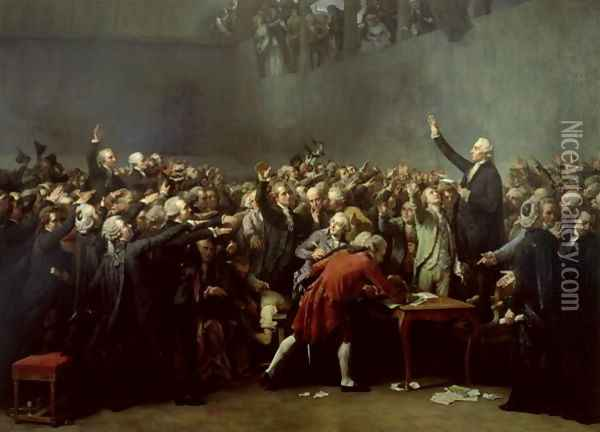 The Tennis Court Oath, 20th June 1789, 1848 Oil Painting - Louis Charles Auguste Couder