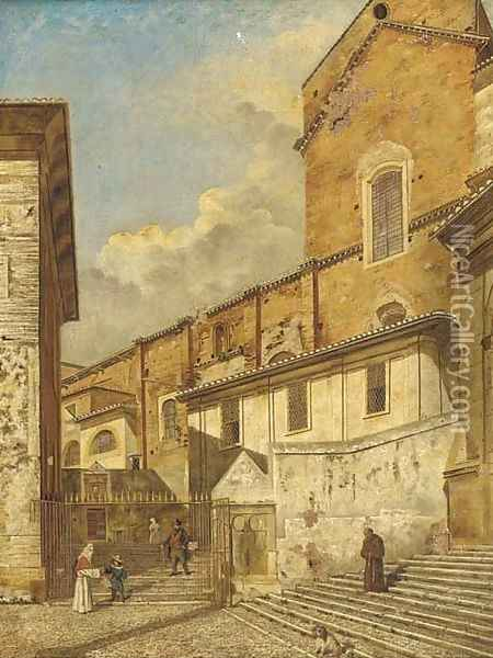 A Church exterior with a Franciscan monk and other figures Oil Painting - Follower of Canaletto, Antonio