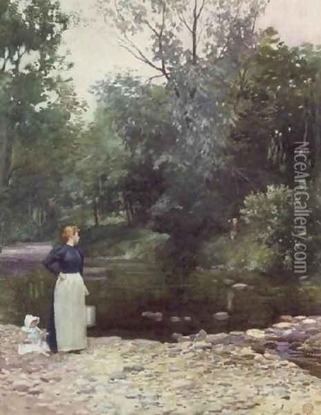 Stepping Stones Oil Painting - James Cadenhead