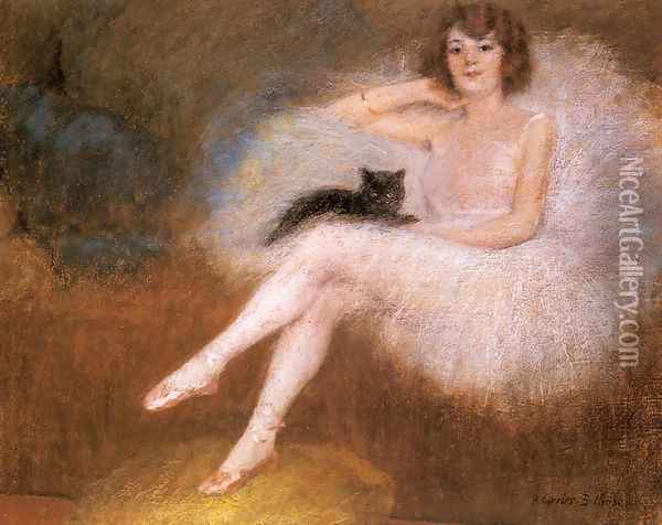 Ballerina with a black Cat Oil Painting - Pierre Carrier-Belleuse