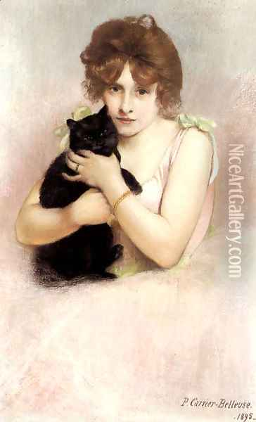 Young Ballerina holding a Black Cat Oil Painting - Pierre Carrier-Belleuse