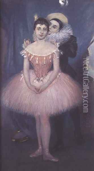 Pierrot and the Dancer Oil Painting - Pierre Carrier-Belleuse