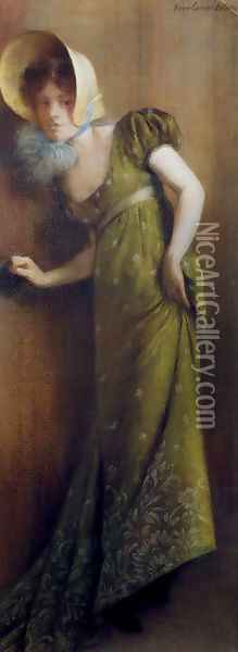 Elegant Woman In A Green Dress Oil Painting - Pierre Carrier-Belleuse