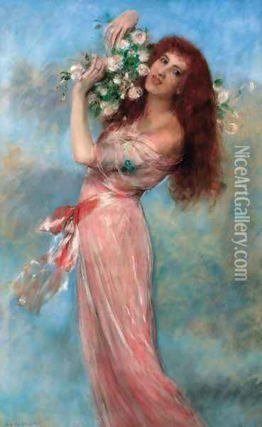 A young beauty holding a bouquet of roses Oil Painting - Pierre Carrier-Belleuse