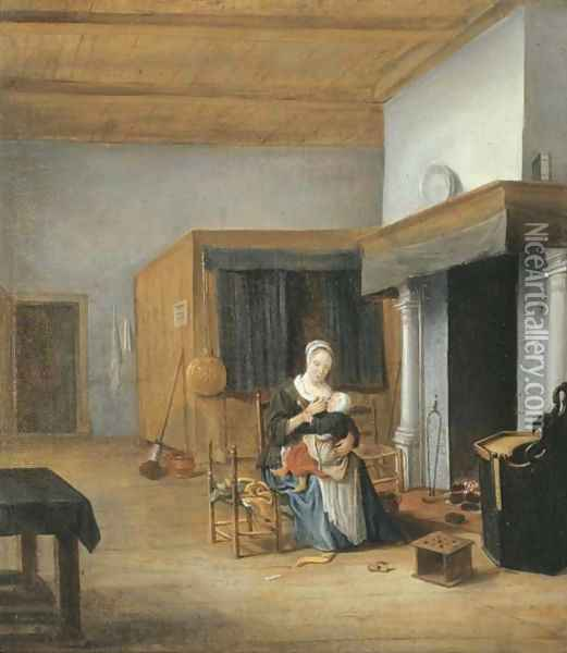 An interior with a woman seated by the fire holding a child upon her lap Oil Painting - Franciscus Carree