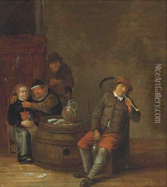 Boors smoking and drinking in an interior Oil Painting - Franciscus Carree
