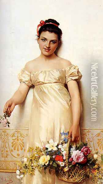 A Young Lady Holding A Basket Of Flowers Oil Painting - Giovanni Costa