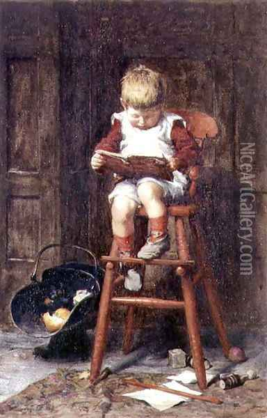 In the High Chair Oil Painting - Frederick George Cotman