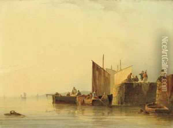 By The Quayside Oil Painting - Johannes Hilverdink