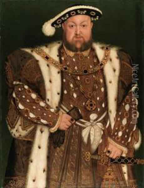 Portrait Of King Henry Viii Oil Painting - Hans Holbein the Younger