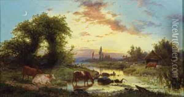 The Watering Place Oil Painting - Edward Henry Holder