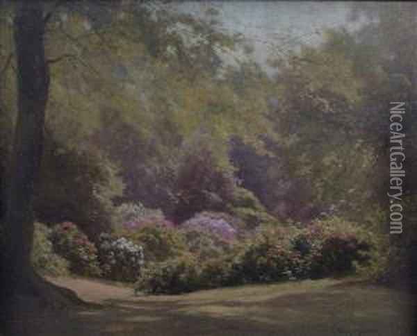Rhododendrons In Richmond Park Oil Painting - Edward Henry Holder