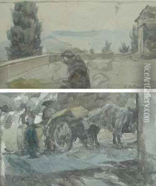 Il Carro Del Fieno Oil Painting - Alfons Hollaender