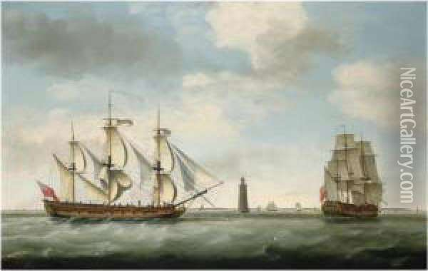 Captain John Carr And His Ship Vere , In Two Positions Off The Eddystone Lighthouse Oil Painting - Francis Holman