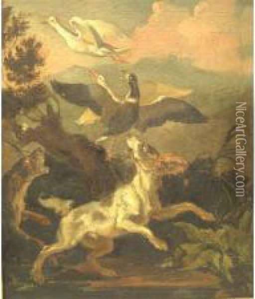 Two Houndsflushing Three Birds, Bearing Signature Verso, And An Old Waxcollector's Mark Oil Painting - Abraham Hondius