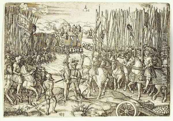 Two Armies Preparing For The  Battle. Etching On Iron, Ca. 1530 After Agostino Veneziano. State Ii Oil Painting - Hieronymus Hopfer