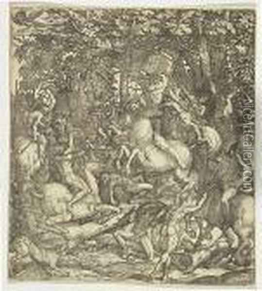 The Battle Of Naked Men<</b> Oil Painting - Hieronymus Hopfer