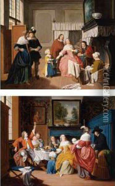 Interior Scene With Figures By A  Hearth; Interior Scene With Figures Gathered Around A Table Oil Painting - Jan Josef, the Elder Horemans