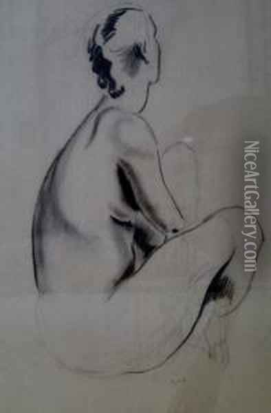 Seated Nude Oil Painting - Earl Horter