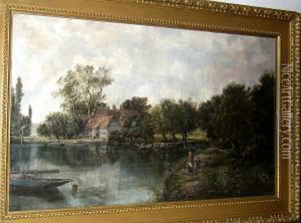 Figures By A Woodland Pond Oil Painting - William Howard Hart