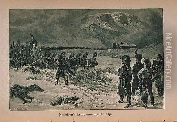 Napoleon's Army crossing the Alps, illustration from 'Little Arthur's History of France: From the Earliest of Times to the Fall of the Second Empire' published 1899 Oil Painting - Lady M. Chalcott