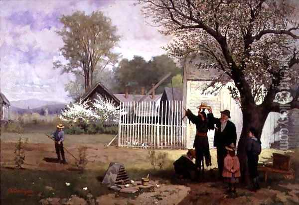 Making the Scarecrow, c.1880 Oil Painting - James Wells Champney