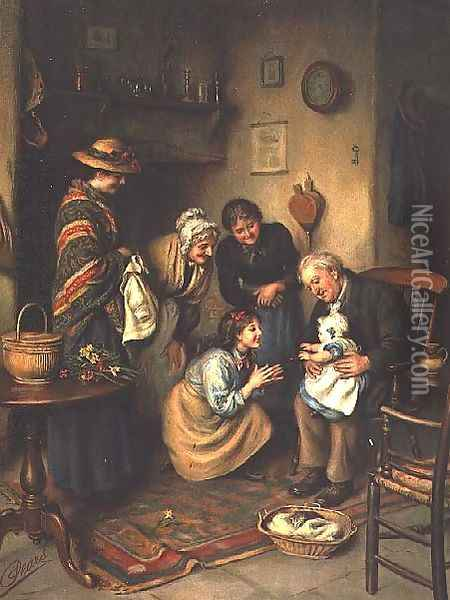 Family Worship, from the Pears Annual, 1911 Oil Painting - Joseph Clark