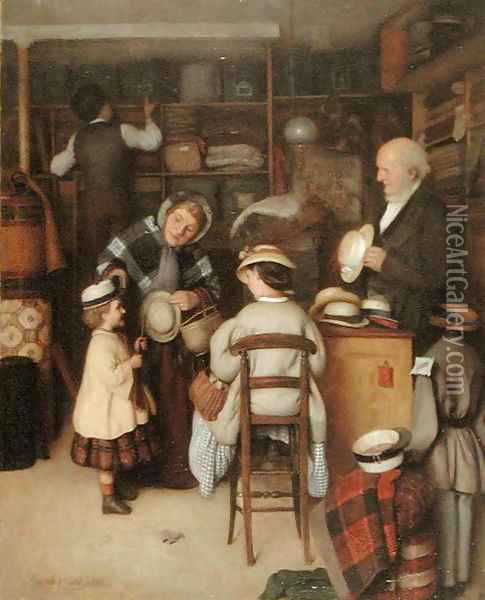 Buying a New Hat, 1880 Oil Painting - Joseph Clark