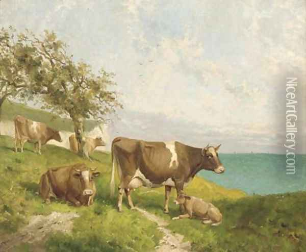 Cattle on the cliffs Oil Painting - Joseph Clark