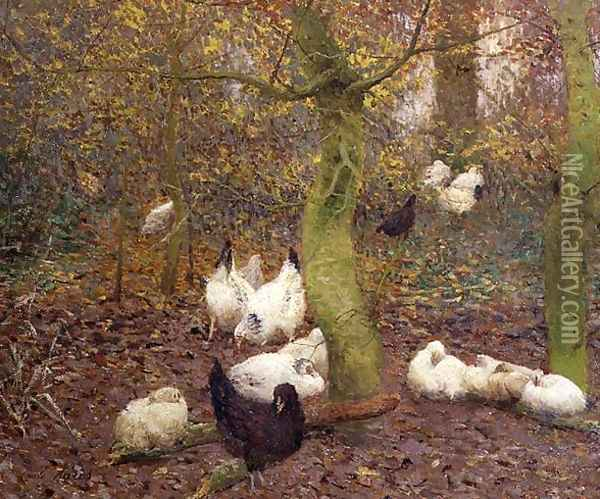 Poultry in a Wood, c.1890 Oil Painting - Emile Claus