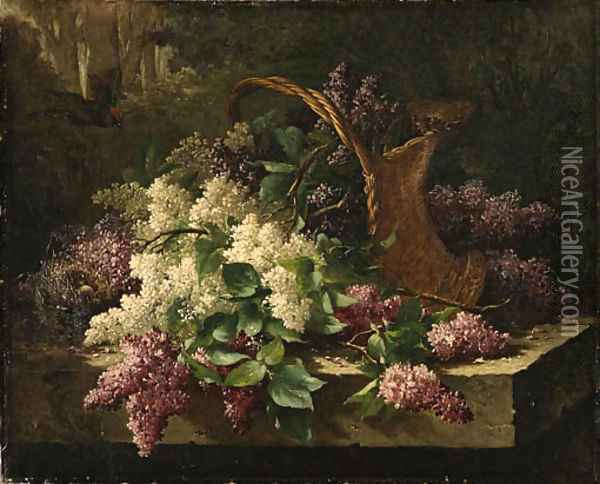 A still life with lilacs in a basket and a bird's nest Oil Painting - Emile Claus
