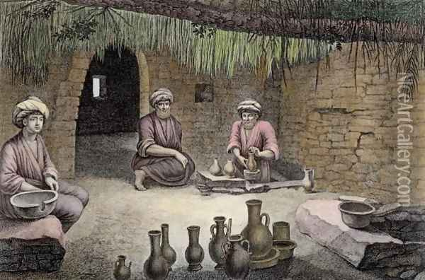 Interior of a Potter's Workshop, from Volume II Arts and Trades of Description of Egypt 1822 Oil Painting - Nicolas Jacques Conte